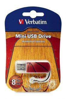 Verbatim 8GB Store 'n' Go Sports Edition Mini USB Flash Drive, Basketball 98507