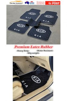 KIA Latex Rubber Auto Car Floor Mats 2 pcs Waterproof Black Full Pack Front Back