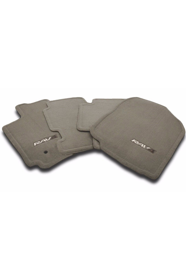 Carpet floor mats are custom-fitted to vehicle floor pattern. Enhances interior appearance and provide optimal protection to original carpet. No-slip, nibbed underside prevent mats from sliding. Embroidered with RAV4 logo. Color-matched to vehicle interior; available in Dark Charcoal, Ash and Sand Beige. Constructed of high-grade plush nylon carpeting. Helps keep original interior carpet clean. Long lasting Toyota quality.""